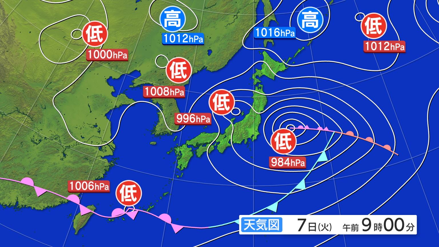 全国の天気 >> 衛星画像・予想図 >> 現況図(最新)