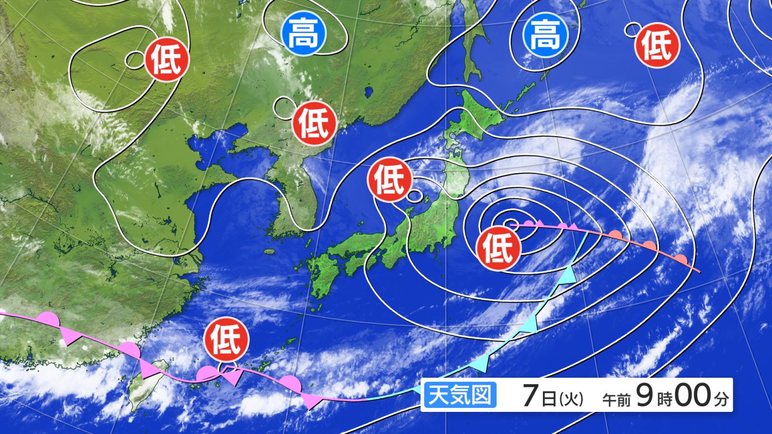 全国の天気 >> 衛星画像・予想図 >> ひまわり+現況