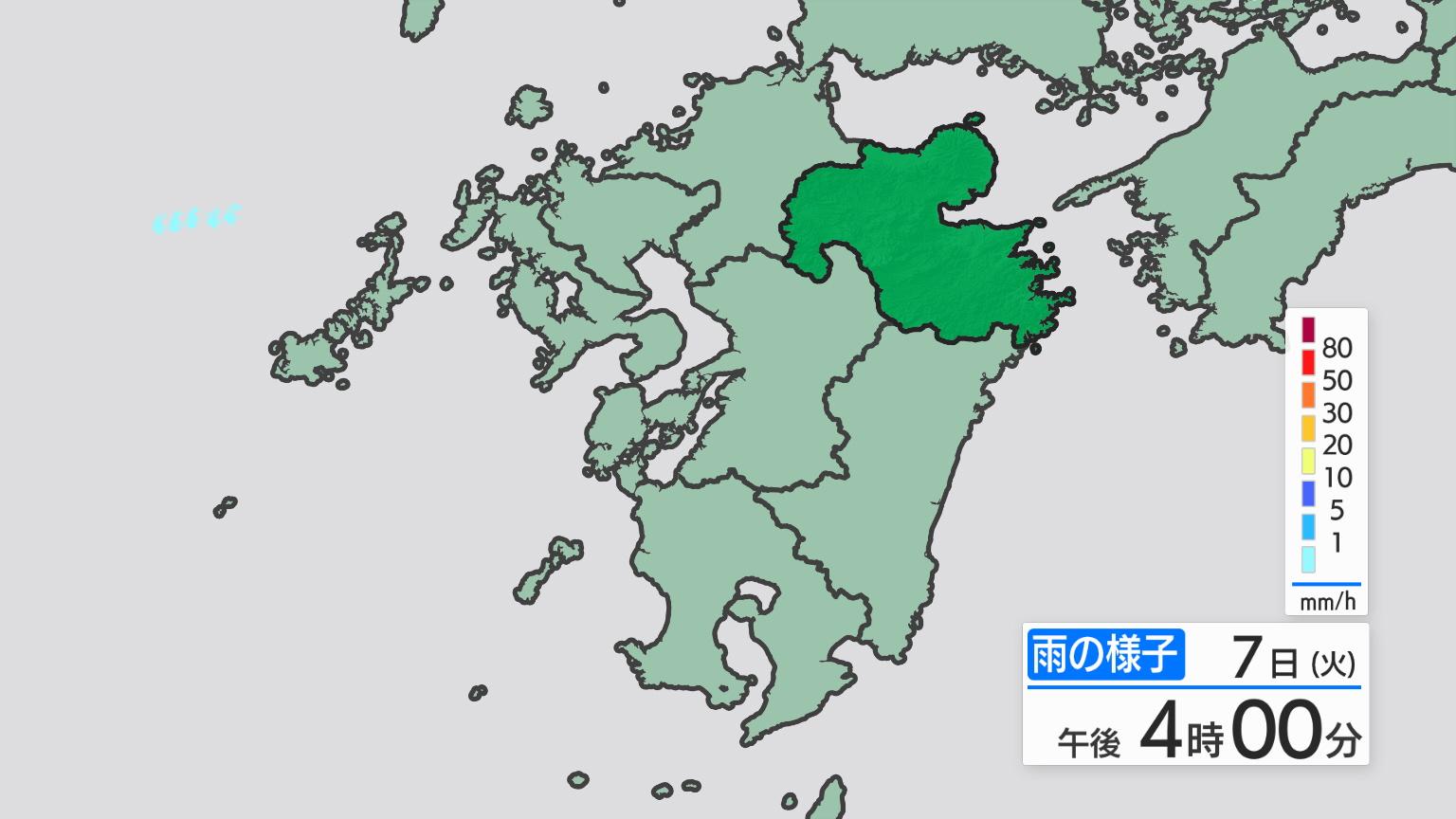 県内の天気 >> レーダー・アメダス >> 雨6時間予想(九州)