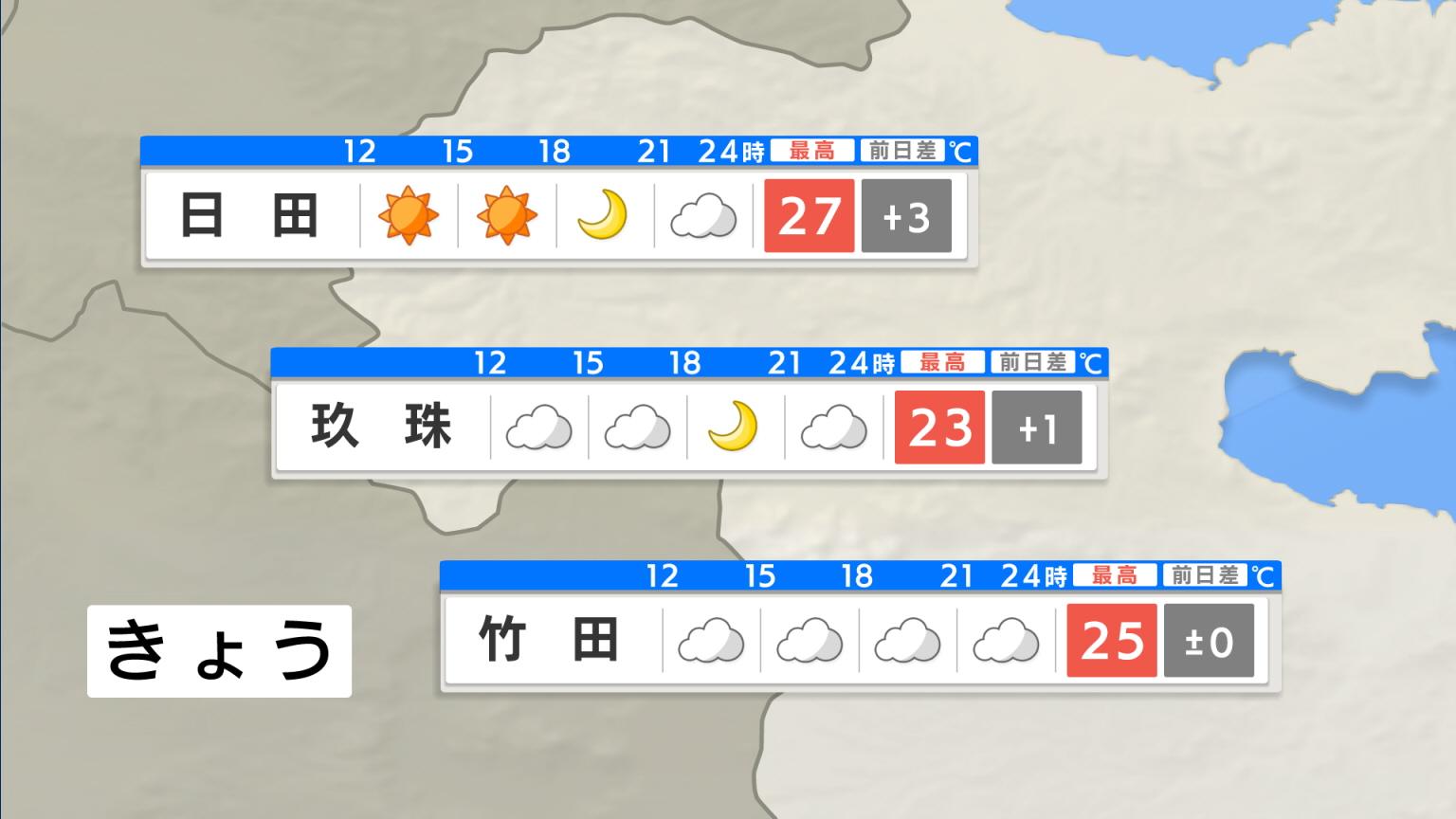 県内の天気 >> ポイント予報 >> 西部