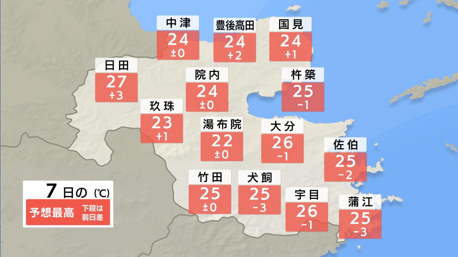 県内の天気 >> 気温・予想気温 >> 予想最高気温